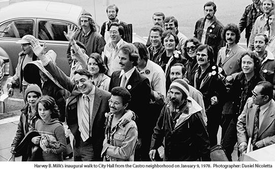 Harvey B. Milk's inaugural walk to City Hall from the Castro neighborhood on January 9, 1978. Photographer: Daniel Nicoletta