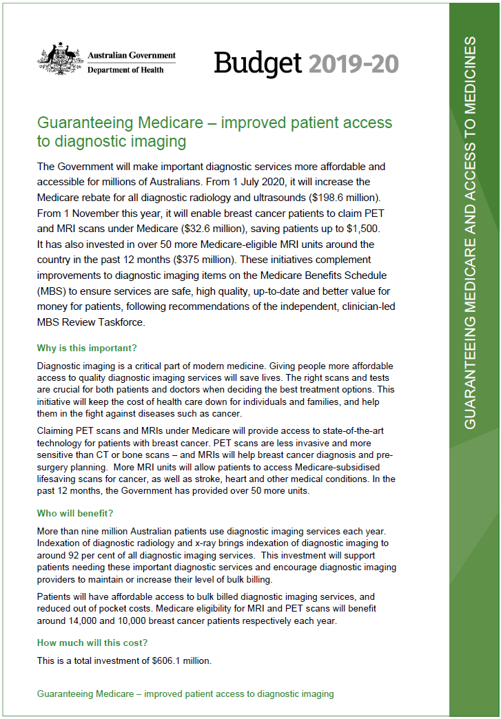 Guaranteeing Medicare - improved patient access to diagnostic imaging