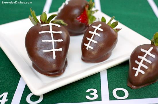 Chocolate-Covered Strawberry Footballs