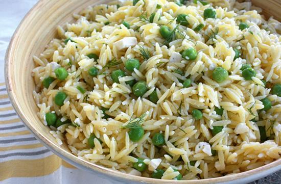 Lemon orzo pea salad