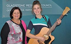 Mayor Gail Sellers with Council song competition winner Skye Montana