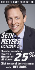Ad: The Event Group - An evening with Seth Meyers Chamber member discount
