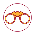 red and yellow icon of binoculars