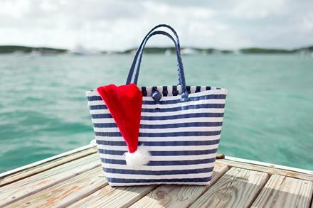 Handbag with Santa hat next to ocean