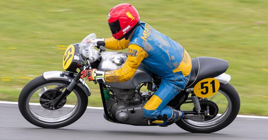 Fernando Mendes on his first outing on the home-built Gold Star