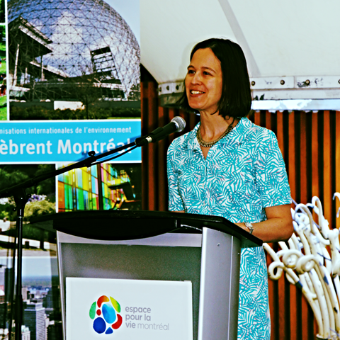 Future Earth's Christina Cook speaks at the event in Montreal