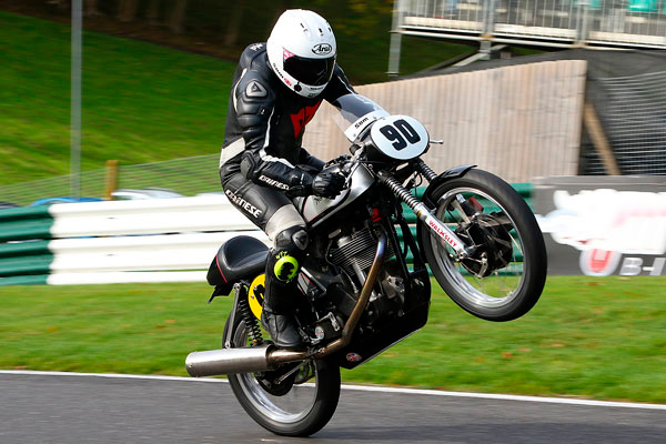 Sam Clews over the mountain at Cadwell