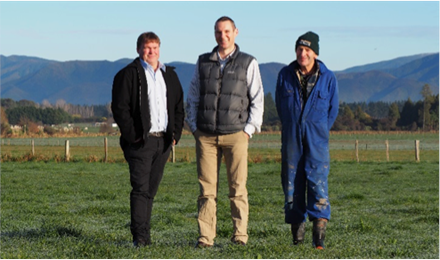 Greg Ordish of the Wairarapa Water Use Project with Sid and Barry Kempton, owners of 'Elm Grove' near Greytown, one of the three farms involved in the case studies.
