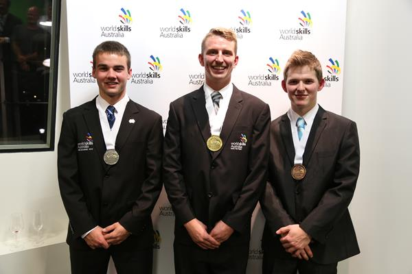 2014 WSA National Refrigeration Competition medallists (L-R) Jordan Wallworth, Beau Kurpis and Mark Young.
