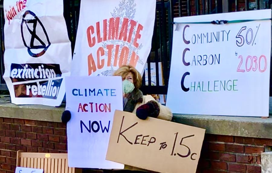 Lesley Hastie climate striking in Huntsville Ontario.