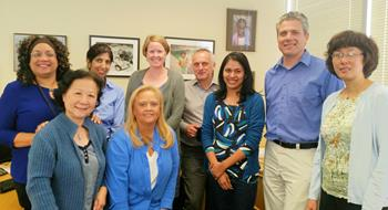 Drug Development staff wearing blue in support of #Blue4Water event.