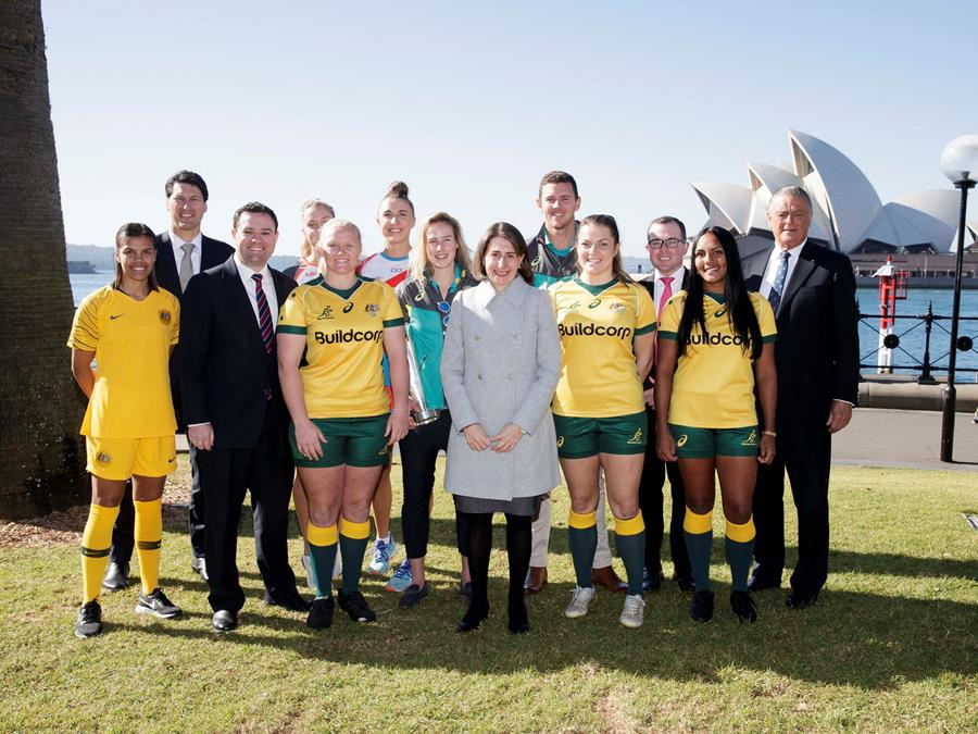 Premier Gladys Berejiklian, Minister for Sport Stuart Ayres and Minister for Tourism and Major Events Adam Marshall announce plans for 10 World Cups