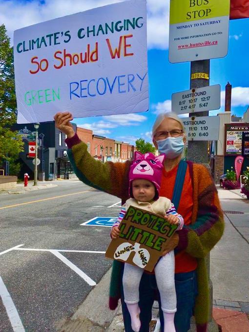 Climate strikers in Huntsville Ontario on September 20, 2019