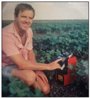 Founder Peter Cull with Neutron Probe, 1982