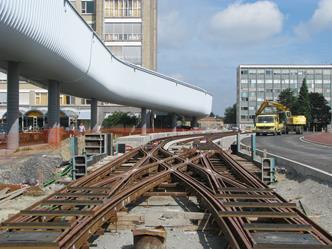 tramsporen kruispunt UZ