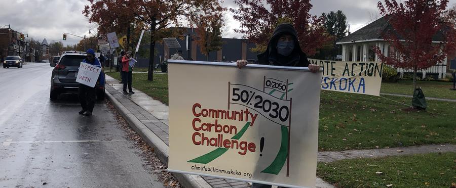 Climate strikers at Memorial Park in Bracebridge