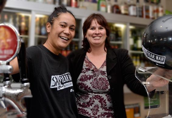 Slim's Bar staff member, Frances Paget (L) and Liquor Inspector Dale Ashford-Hill.