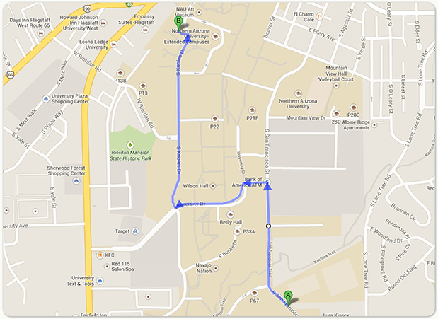 Map with directions to lobby of the Extended Campuses Building