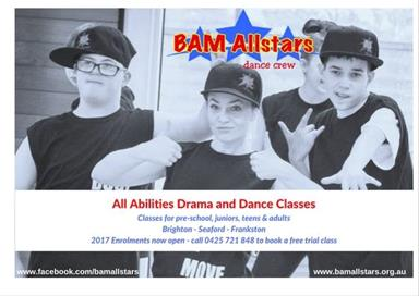 Young people from BAM Allstars all abilities classes strike sassy poses