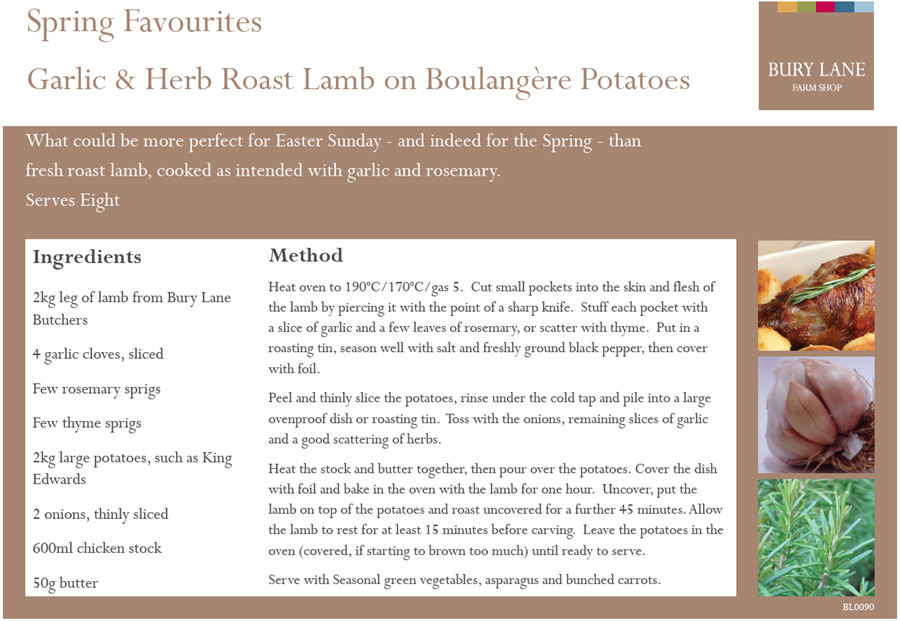 Bury Lane Farm Shop Garlic & Herb Roast Lamb Recipe