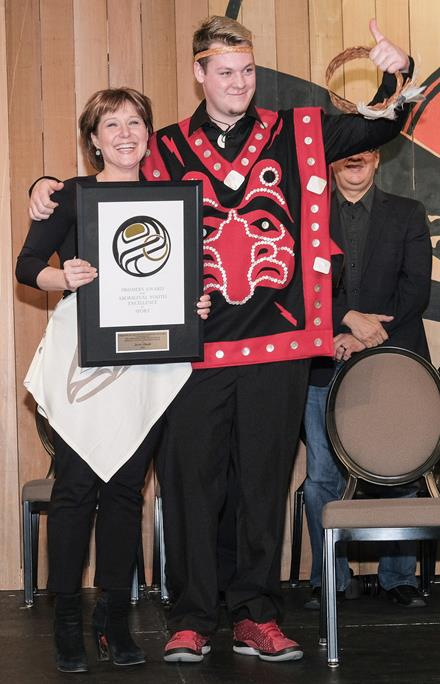 Aboriginal Award winner Jesse Shade and Premier Christy Clark