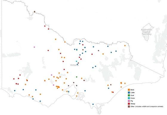 Map of suspect EAD investigations in Victoria.