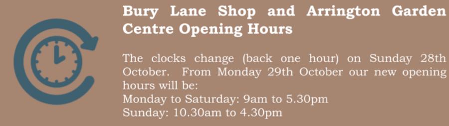 Bury Lane Farm Shop & Arrington Garden Centre Opening Hours Autumn 2018