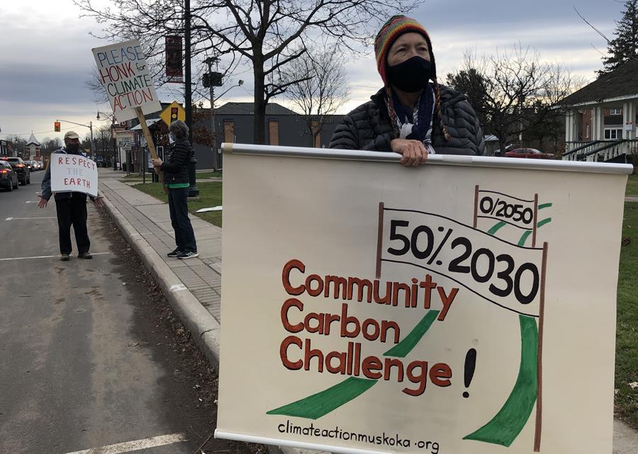 Sue Mckenzie and others climate striking in Bracebridge