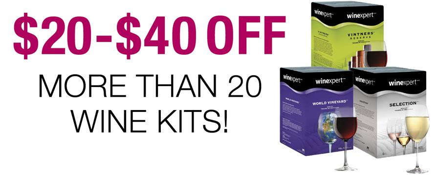 $20 to $40 OFF more than 20 wine kits!