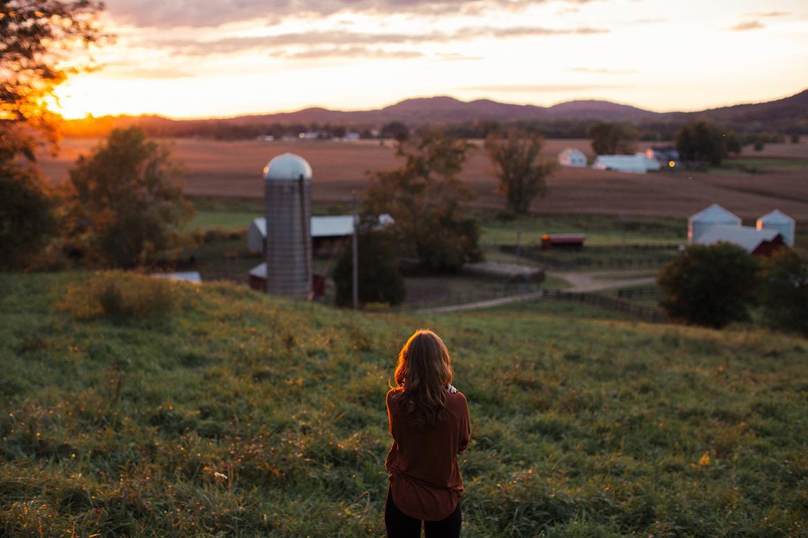 Woman in a farm field