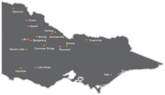 Sites monitored include: Werrimul, Ouyen, Speed, Kerang, Birchip, Normanville, Lah, Bangerang, Taylors Lake, Coonooer Bridge, Raywood, Elmore, Youanmite, Hamilton, Lake Bolac, Tatyoon, and Sale.