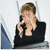 woman on the phone with worried face