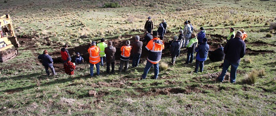 Participants at the first Leadership in Rabbit Control course in 2015 taking part in a warren ripping demonstration.
