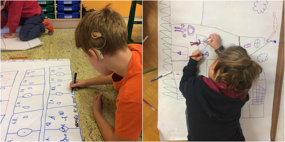 "Photos from the first workshops at schools. The children were drawing their ""Ideal school""."