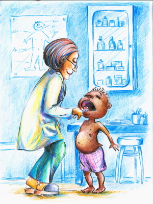 Female doctor taking temperature of young child