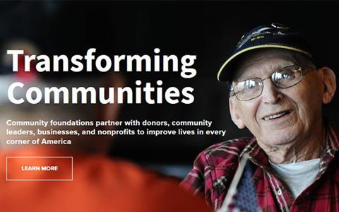 Landing page of the Community Foundation Public Awareness Initiative