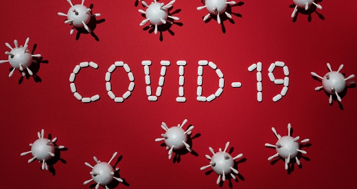Polystyrene COVID-19 words and virus particles