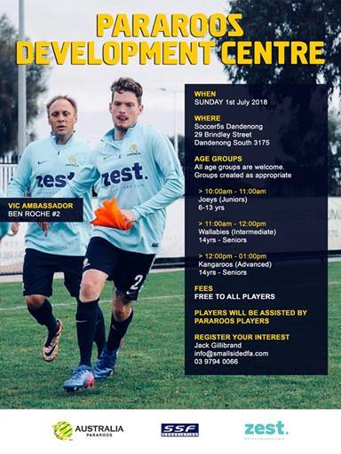 Pararoos Development Centre promotional flyer