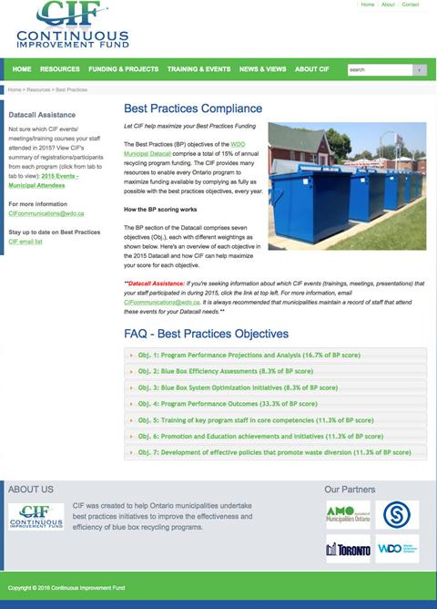 Best Practices Compliance webpage