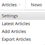 Articles Settings Screenshot