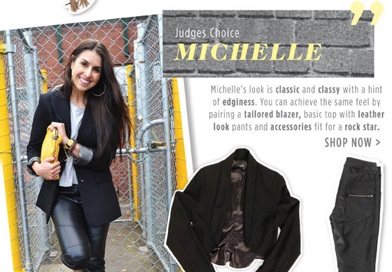 Judges Choice: Michelle. Michelle's look is classic and classy with a hint of edigness. You can achieve the same feel by pairing a tailored blazer, basic top with leather look pants and accessories fit for a rock star. Shop now. http://www.bardot.com.au/CategorisedProductListing.aspx?element=30&category=1&Keywords=street%20style&utm_source=Street%2BStyle%2Bwinner%2B-%2Bbottom%2BMichelle&utm_medium=edm&utm_campaign=Street%2BStyle%2Bwinner