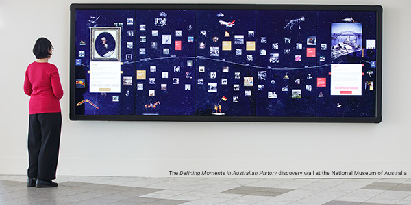 The Defining Moments in Australian History discovery wall at the National Museum of Australia