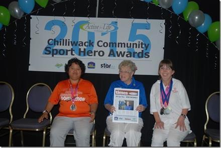 Award-winning SOBC - Chilliwack volunteer Kathie MacDonald with local athletes