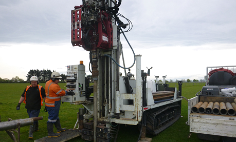 Geotechnical investigations borehole drill rig setup
