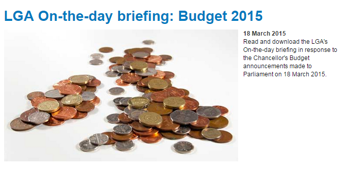 Read and download the LGA's briefing in response to the Chancellor's Budget announcements made to Parliament on 18 March 2015.