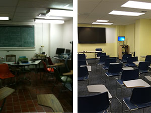 Before and after views of the undergraduate lab classroom.