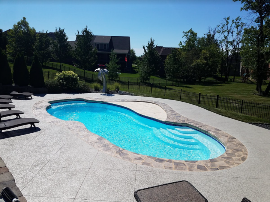 Pool deck coated with SunLastic