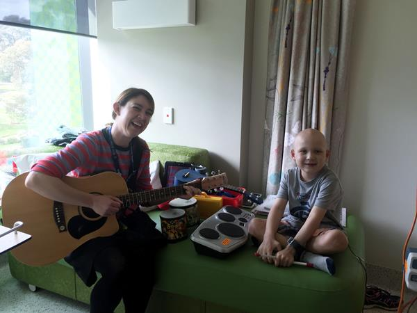 James enjoys music therapy