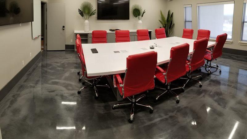 Metallic epoxy floors at Anodamine offices in Lago Vista, TX