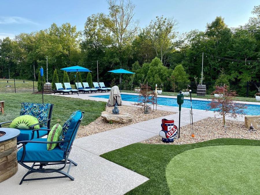 Pool area and patio by SUNDEK of Nashville